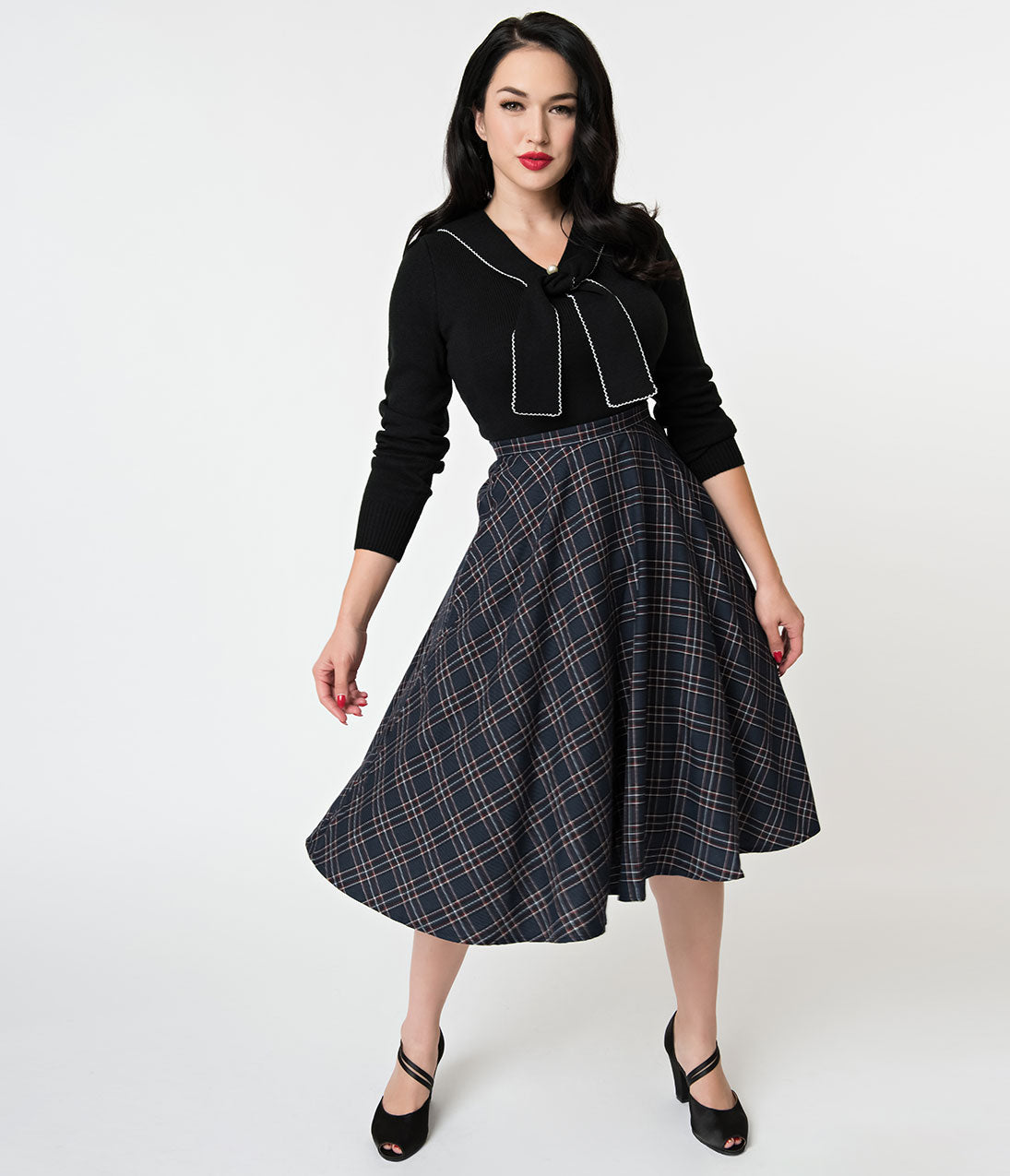 1950s Swing Skirt, Poodle Skirt, Pencil Skirts Hell Bunny 1950S Style Navy Tartan High Waist Peebles Swing Skirt $62.00 AT vintagedancer.com