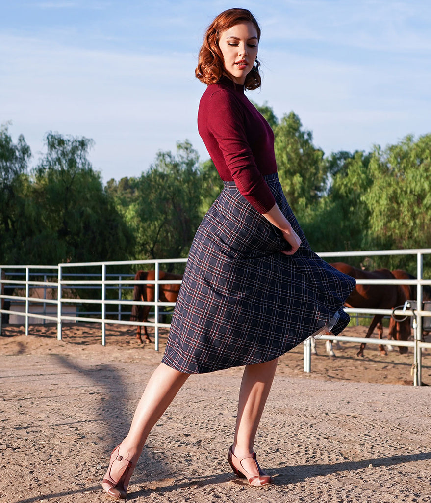 Hell Bunny 1950s Style Navy Tartan High Waist Peebles Swing Skirt