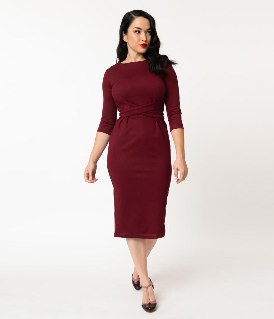 1950s Style Burgundy Woven Sleeved Vickie Wiggle Dress