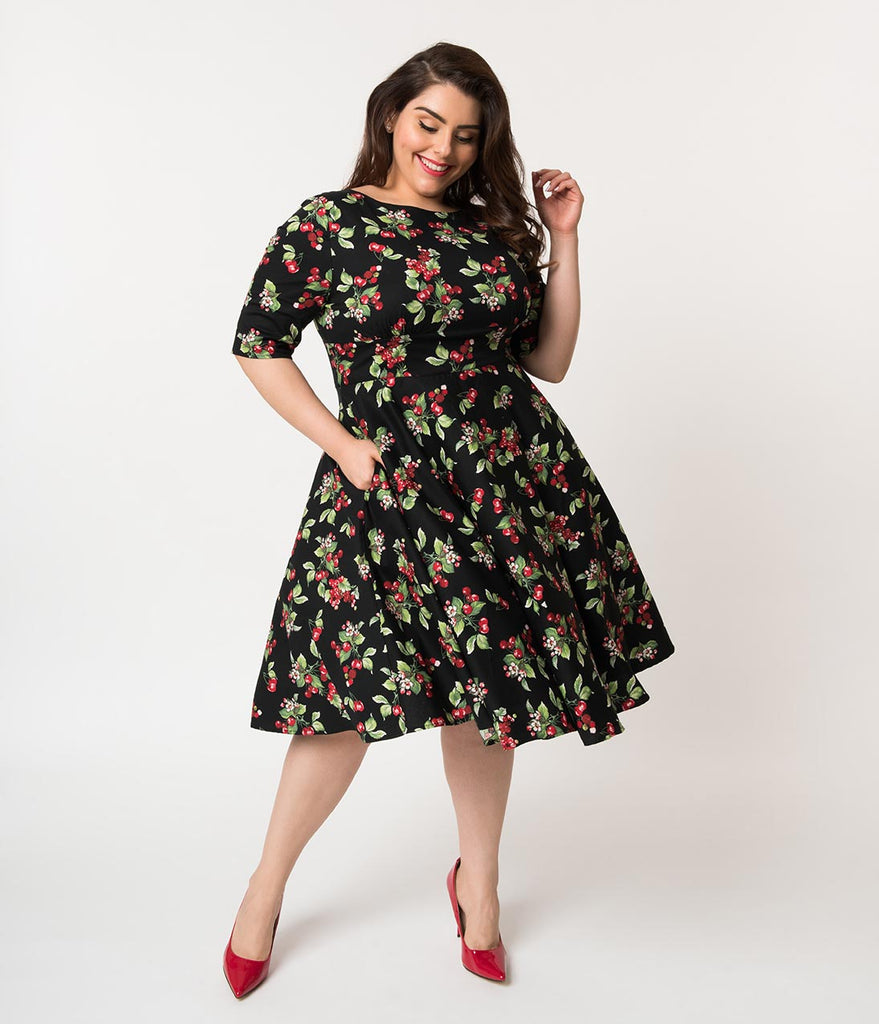 Hell Bunny Plus Size 1950s Black & Red Cherry Cherie Cotton Swing Dress