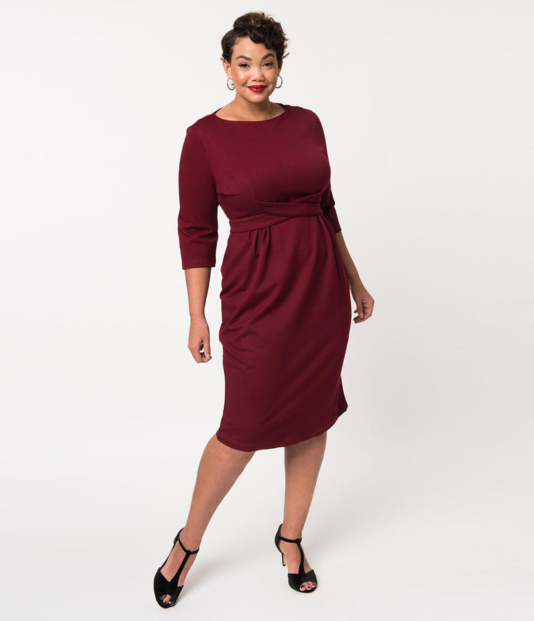 Plus Size 1950s Style Burgundy Woven Sleeved Vickie Wiggle Dress