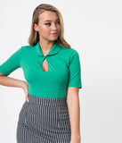Retro Style Green Cotton Stretch Short Sleeve Keynote Top