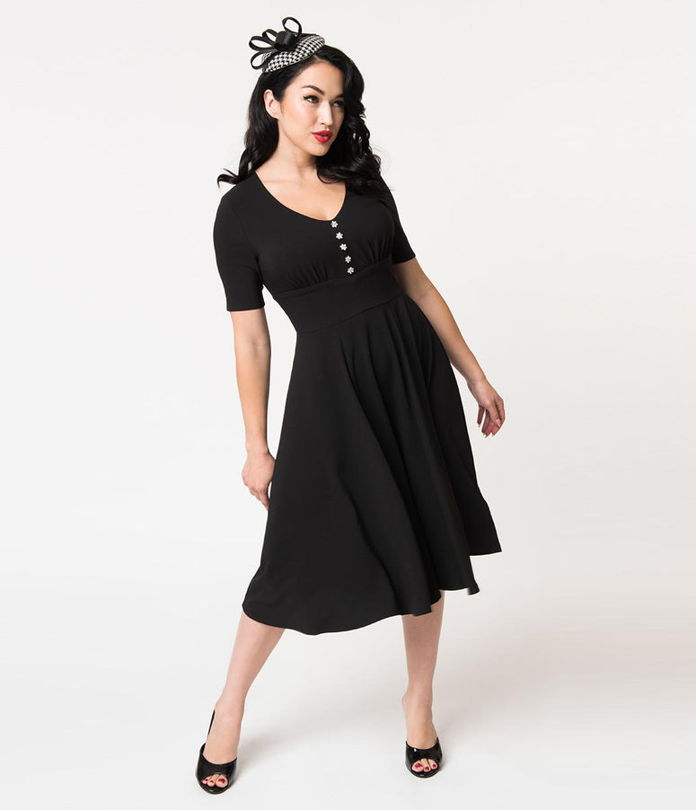 Hell Bunny Black Crepe & Floral Crystals Half Sleeve Mila Swing Dress
