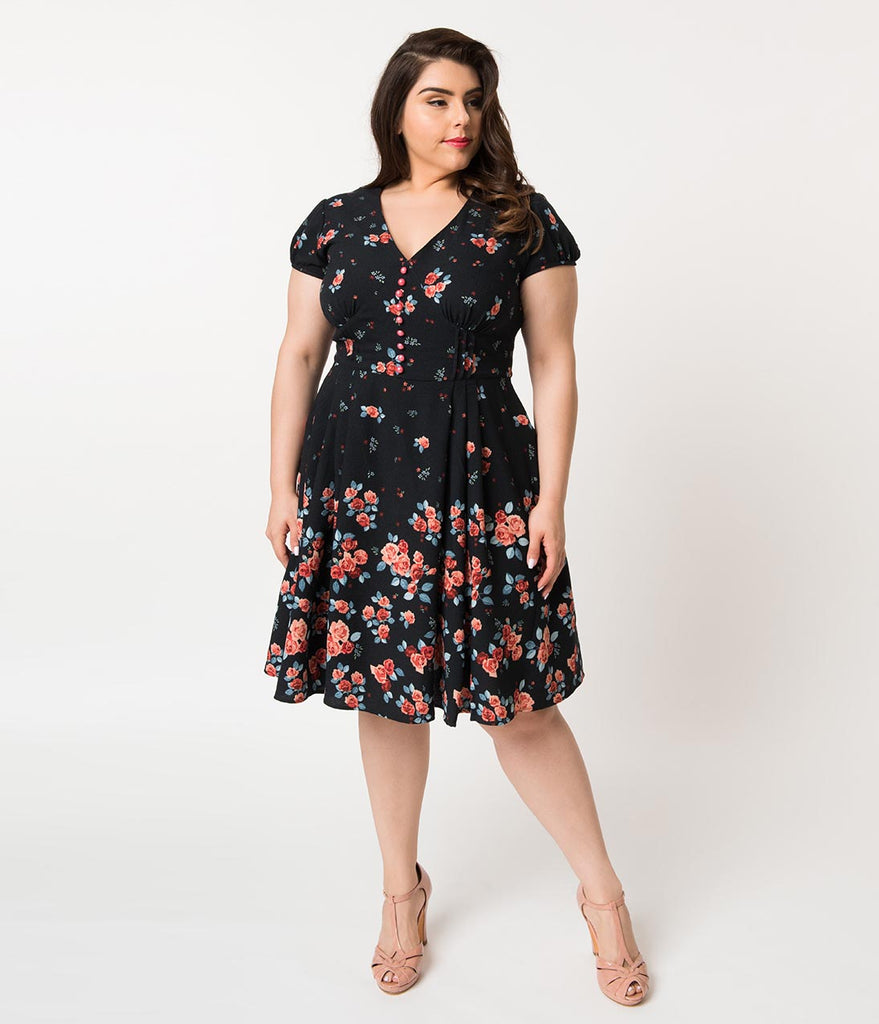 Hell Bunny Plus Size 1950s Navy & Pink Floral Crepe Cap Sleeve Ellen Flare Dress