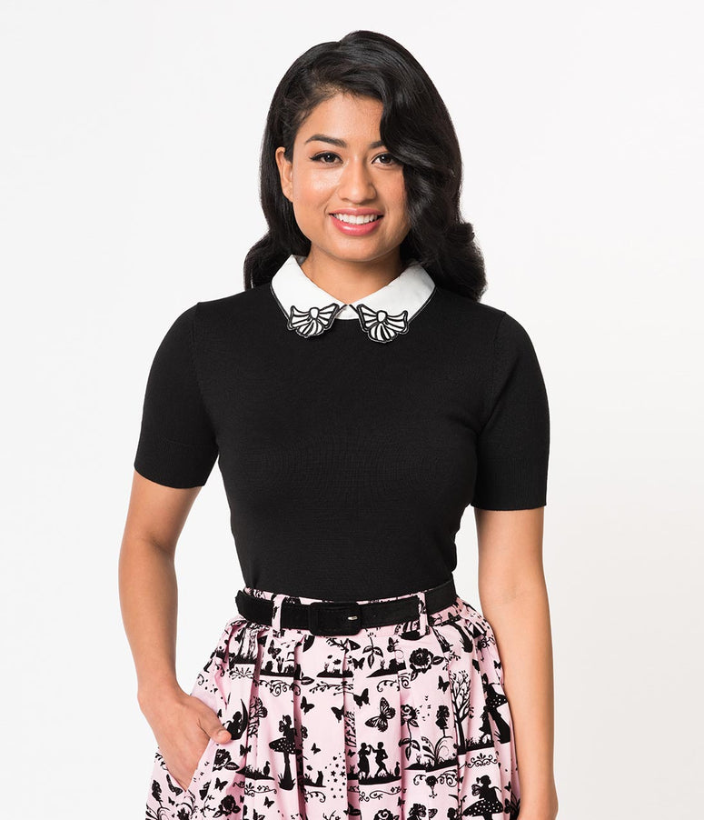 Hell Bunny Black Knit & White Bow Collar Short Sleeve Top