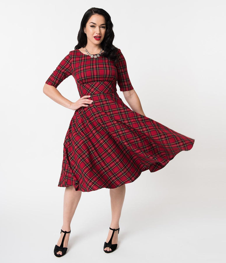 Hell Bunny 1950s Red Plaid Woven Half Sleeve Irvine Swing Dress
