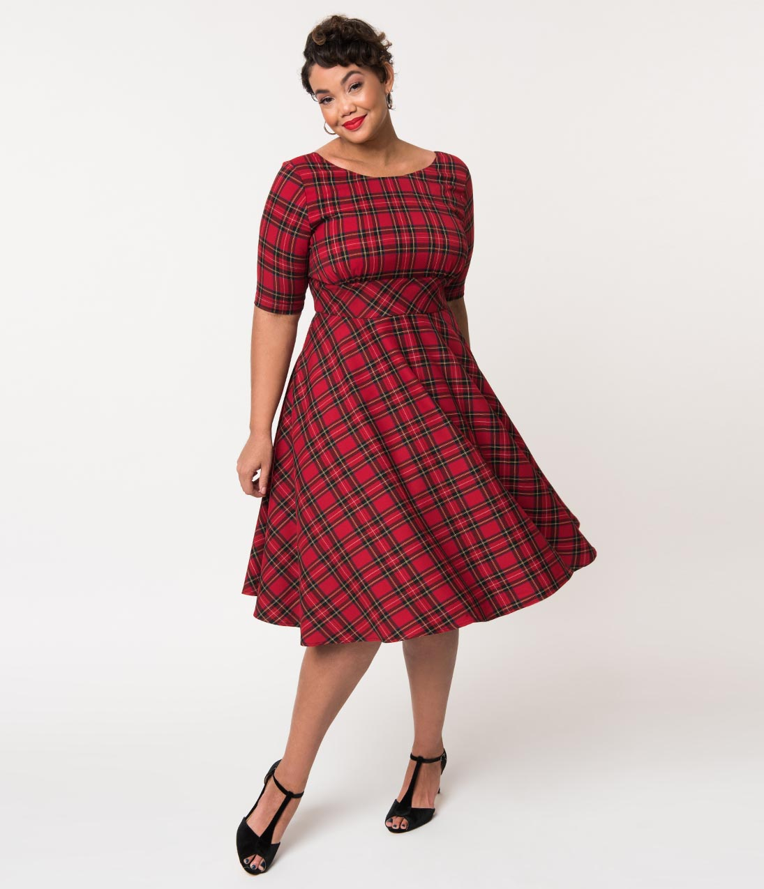 1960s Dresses | 60s Dresses Mod, Mini, Jackie O, Hippie Hell Bunny Plus Size 1950S Red Plaid Woven Half Sleeve Irvine Swing Dress $82.00 AT vintagedancer.com