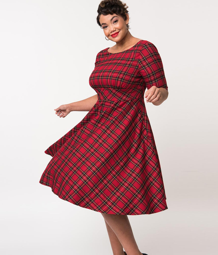 Hell Bunny Plus Size 1950s Red Plaid Woven Half Sleeve Irvine Swing Dress