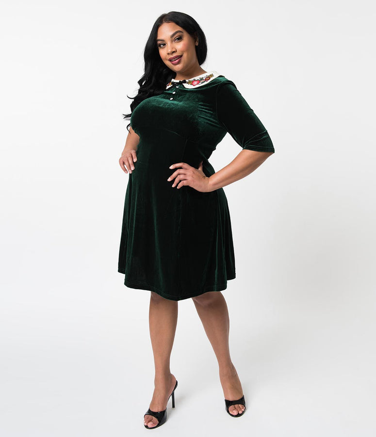Hell Bunny Plus Size Velvet Flare Holiday Dress