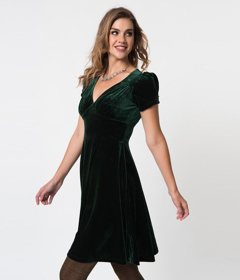 Hell Bunny Emerald Velvet Short Sleeve Joanna Flare Dress
