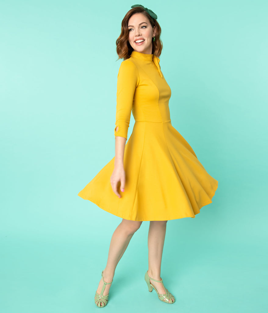 Unique Vintage Mustard Yellow Knit Three-Quarter Sleeved Parker Flare Dress