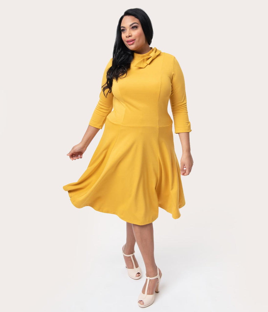 Unique Vintage Plus Size Mustard Yellow Knit Three-Quarter Sleeved Parker  Flare Dress