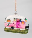 Pink & White Retro Flamingo Camper Glass Ornament