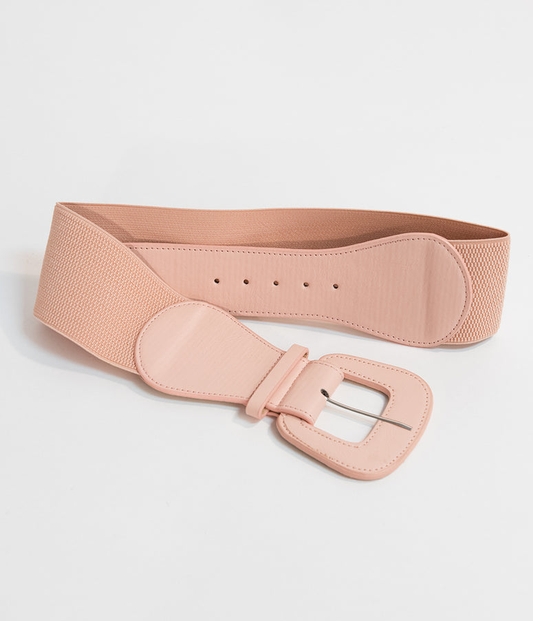 Retro Style Blush Pink Leatherette Wide Elastic Cinch Belt