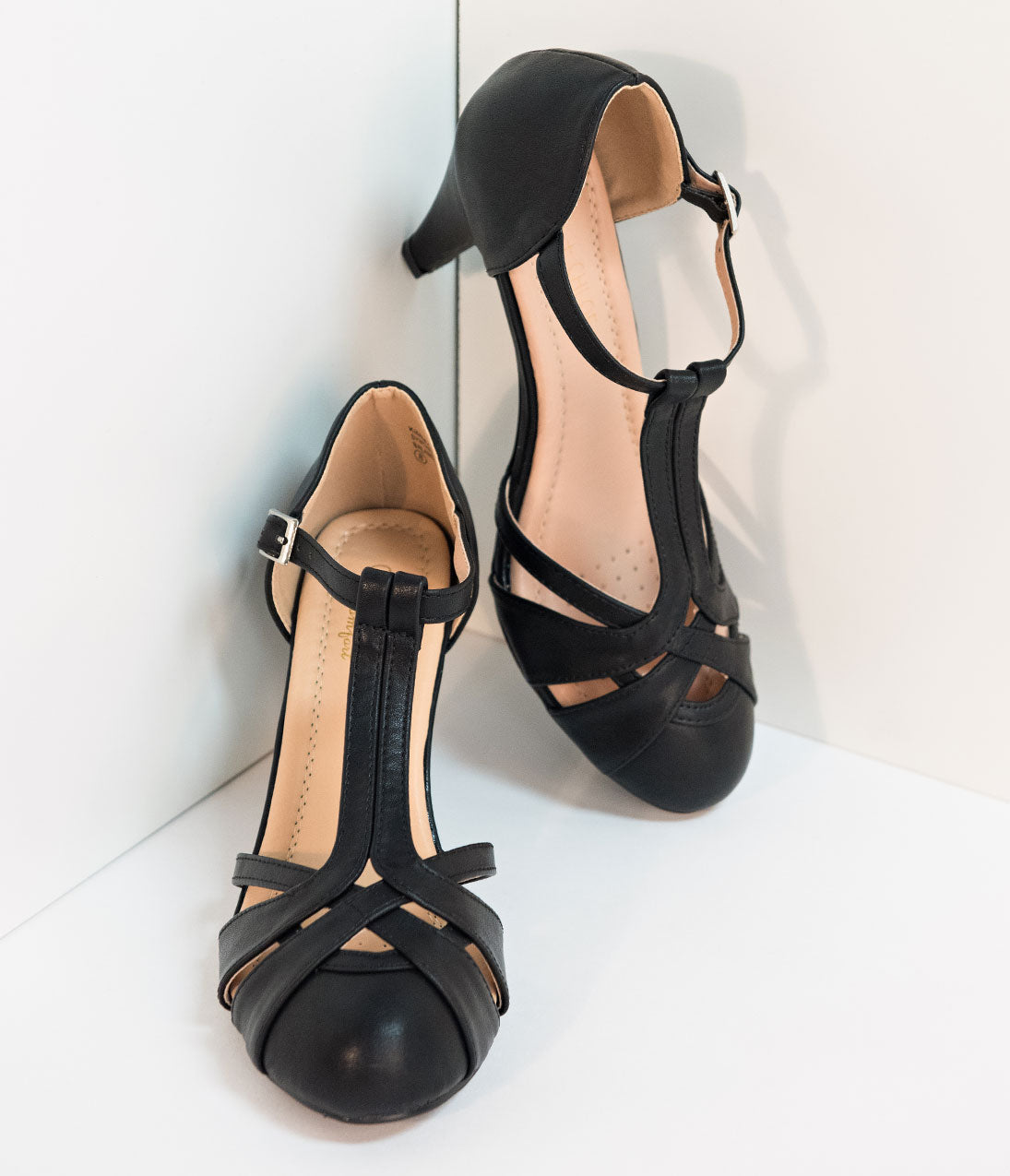 Vintage Style Shoes, Vintage Inspired Shoes Retro Style Black Pleather Cutout Kimmy T-Strap Heels $44.00 AT vintagedancer.com