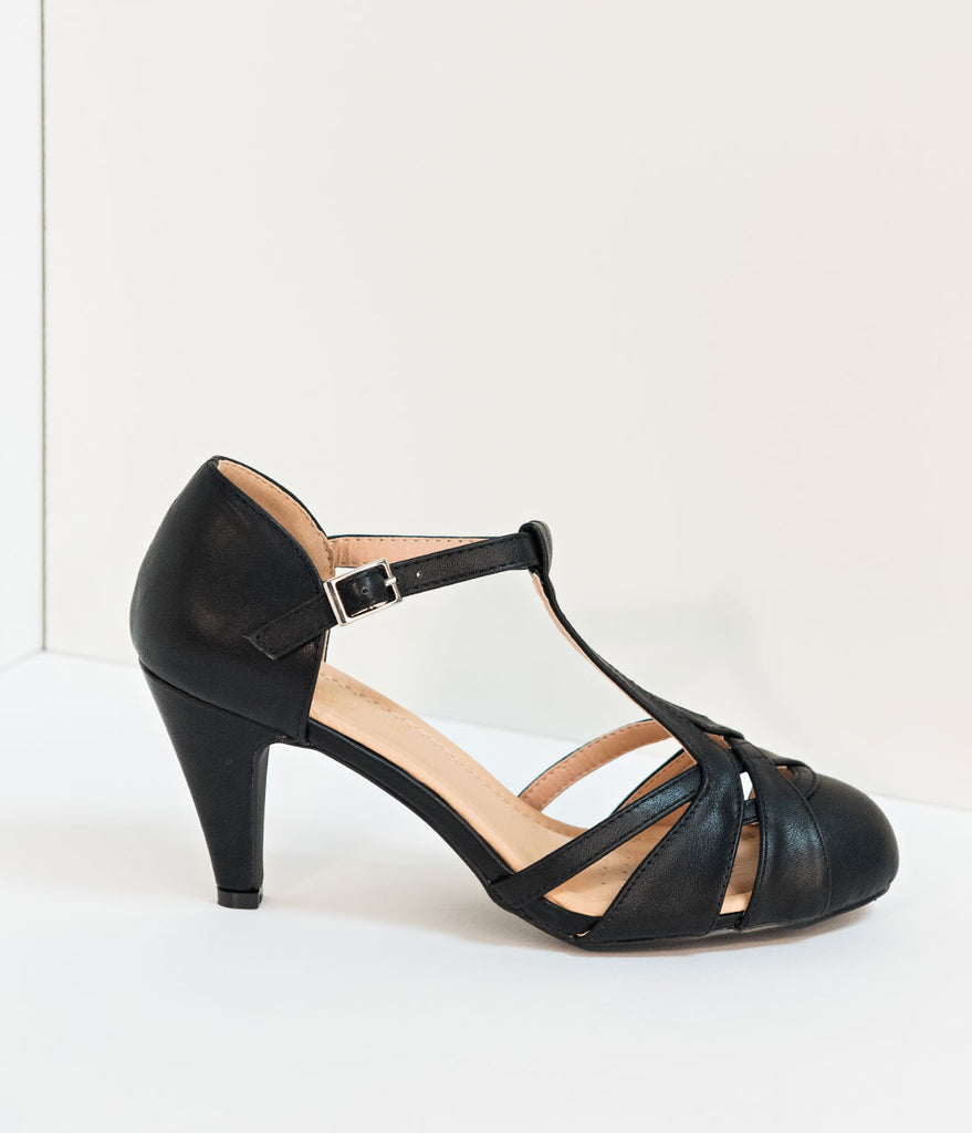 Retro Style Black Pleather Cutout Kimmy T-Strap Heels
