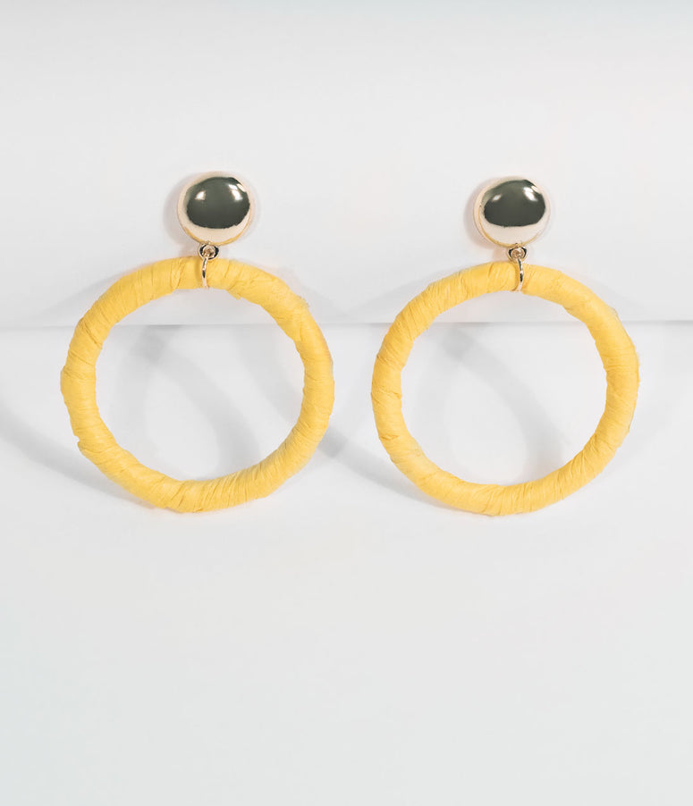 Yellow Paper Hoop Drop Earrings
