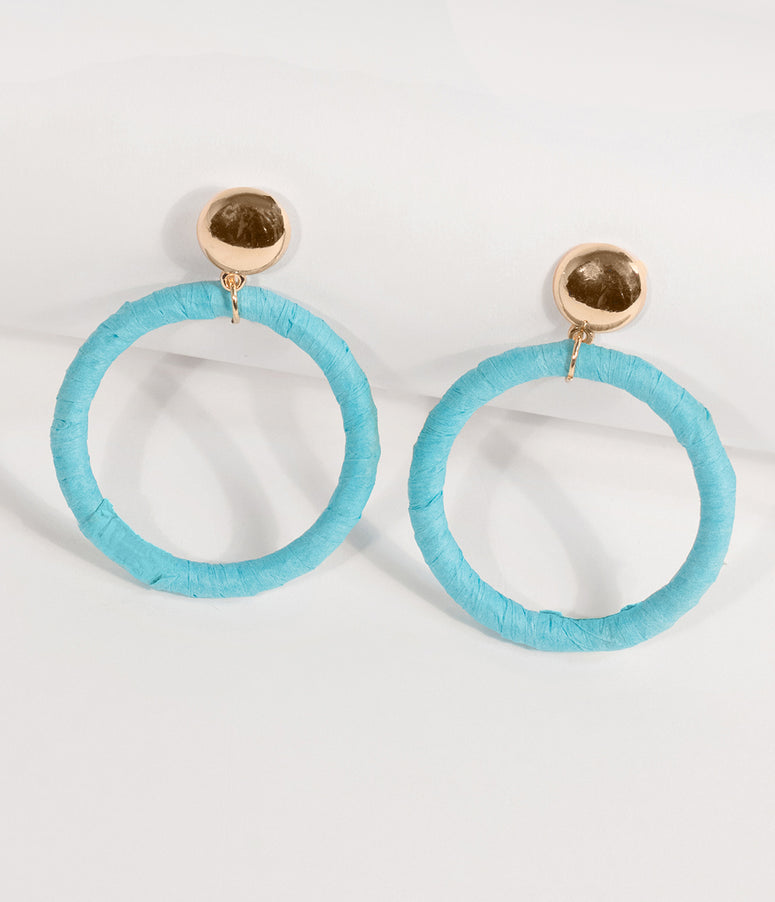 Mint Blue Paper Hoop Drop Earrings