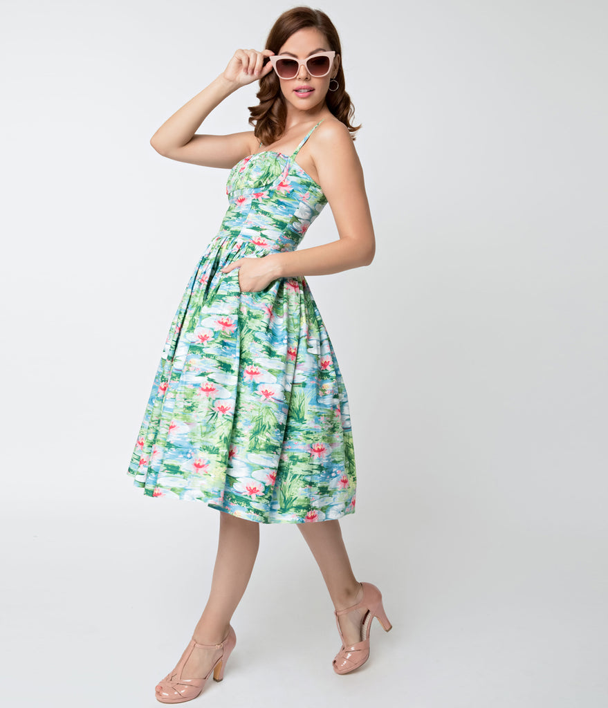 Bernie Dexter 1950s Style Water Lily Paris Cotton Swing Dress