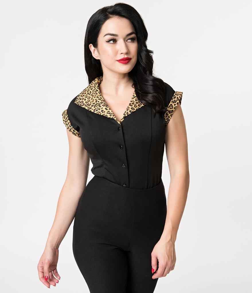 Banned 1950s Style Black & Leopard Button Up Rock & Roll Blouse