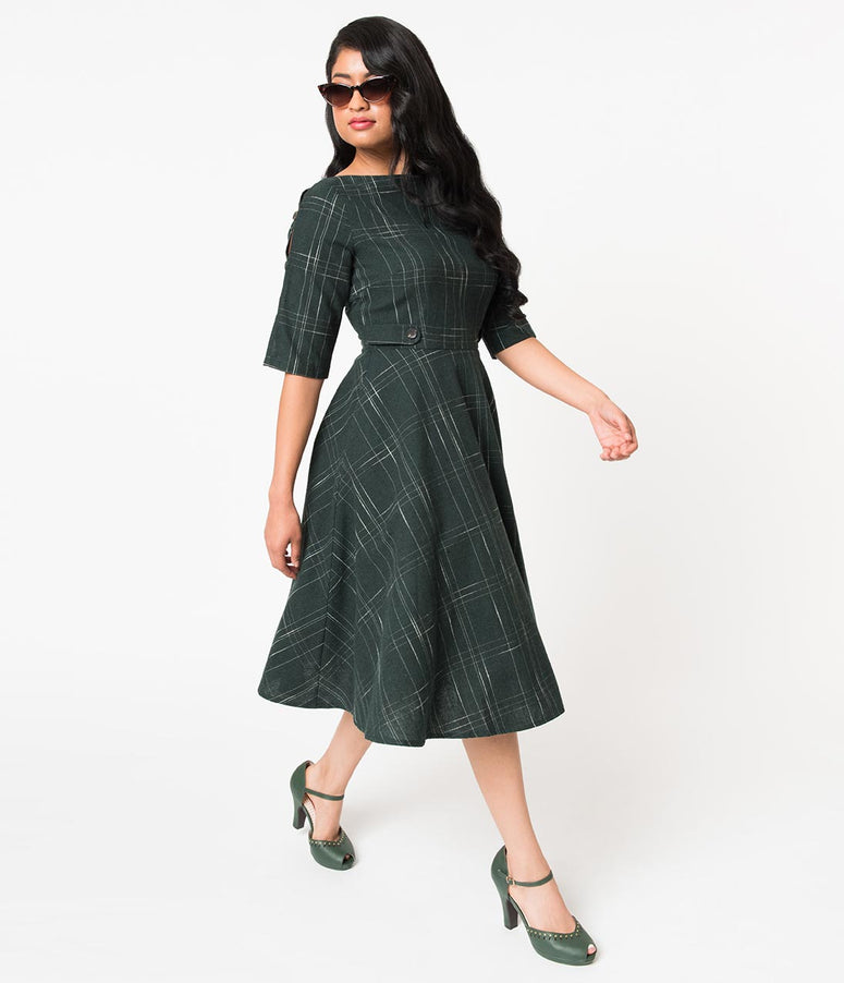 Banned 1940s Dark Green Plaid Brushed Cotton Gabrielle Swing Dress
