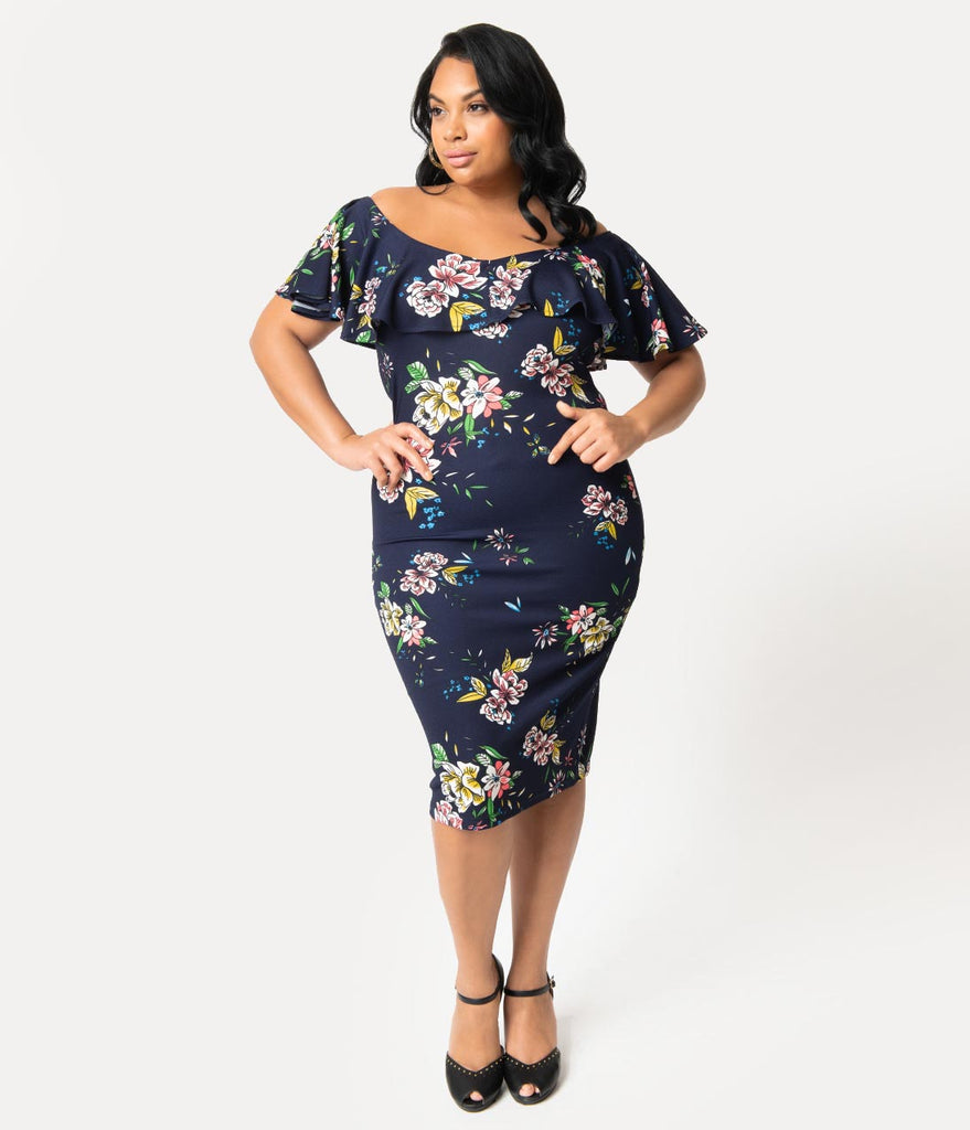 Unique Vintage Plus Size Navy Blue Floral Knit Draped Sophia Wiggle Dress