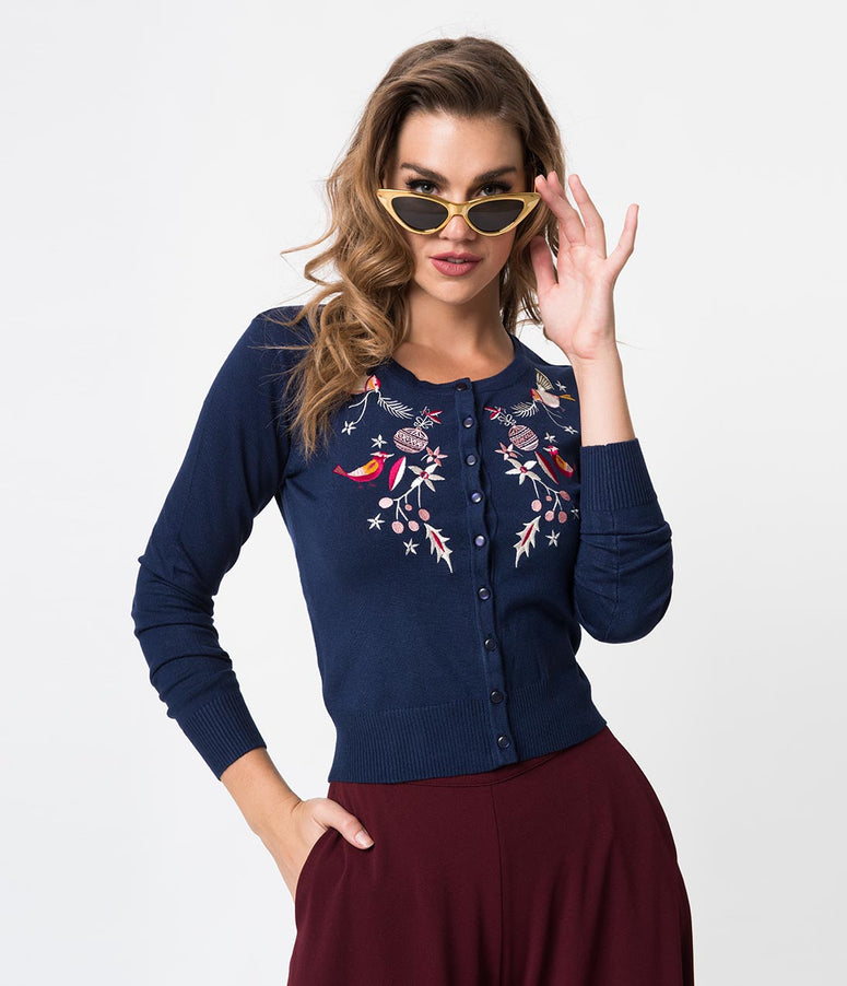 Banned Navy Blue Christmas Bird Embroidery Long Sleeve Cardigan