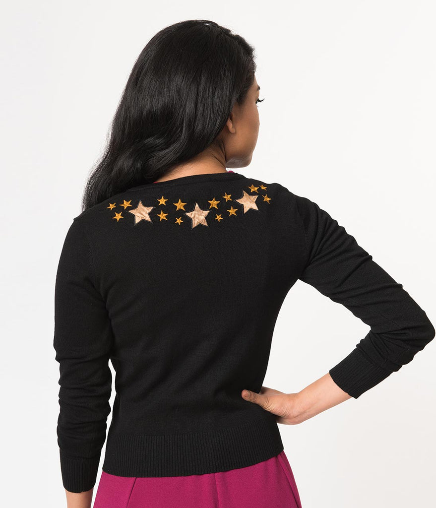 Banned Black & Gold Beyond The Stars Embroidered Long Sleeve Cardigan