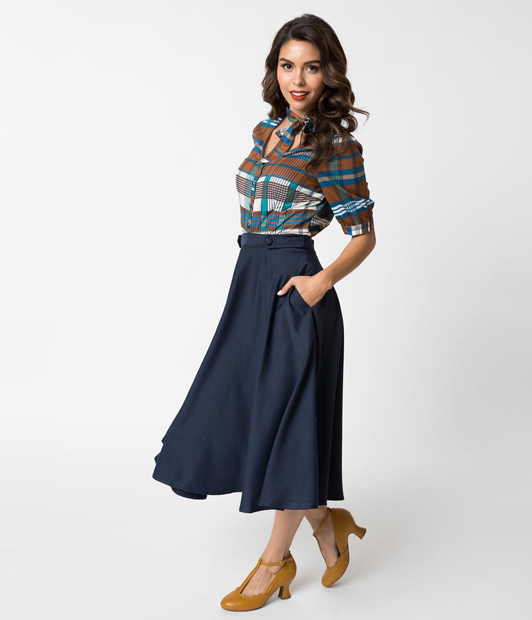 Banned 1950s Style Night Blue High Waist Di Di Swing Skirt