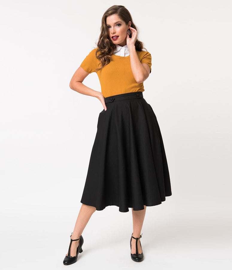 1950s Style Black High Waist Di Di Swing Skirt