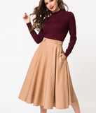 Banned 1950s Style Tan High Waist Di Di Swing Skirt