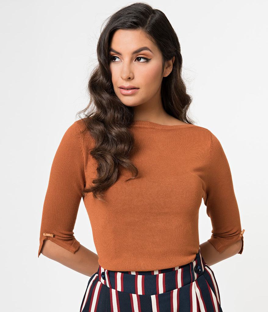Retro Gingerbread Brown Long Sleeved Michelle Knit Top