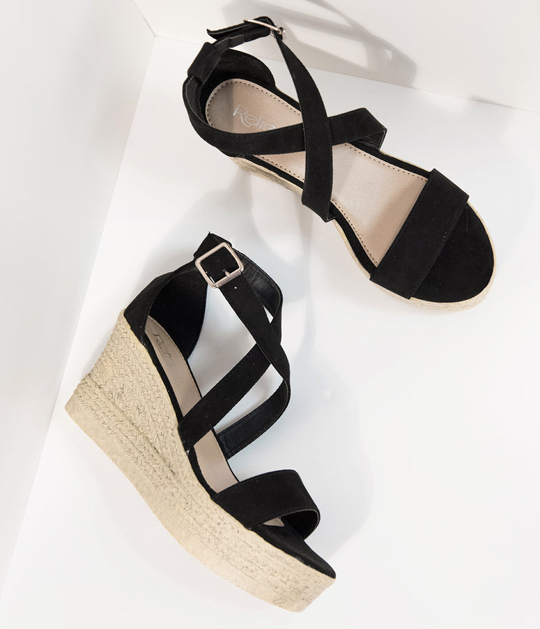 Black Suede Criss Cross Espadrilles Platform Sandals