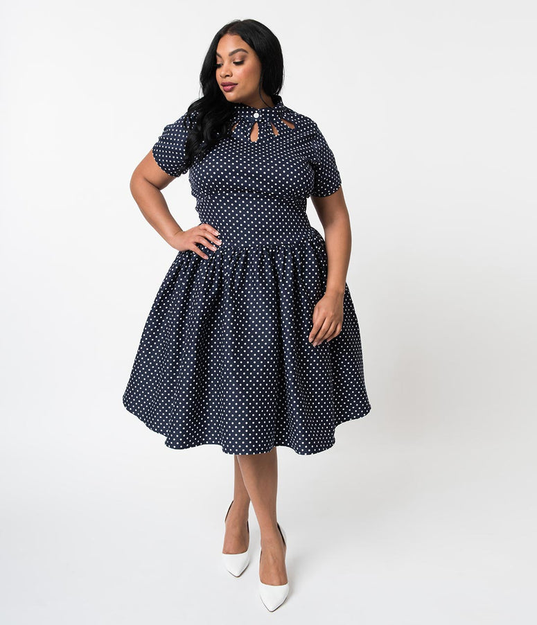 Unique Vintage Plus Size 1950s Style Navy Dotted Keyhole Lizzie Swing Dress