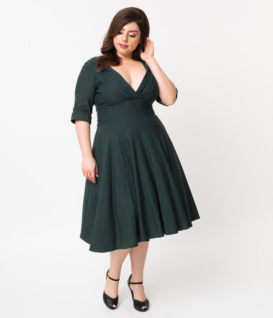 Unique Vintage Plus Size 1950s Dark Green Delores Swing Dress with Sleeves
