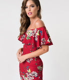 Unique Vintage Burgundy Red Floral Knit Draped Sophia Wiggle Dress