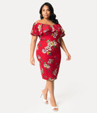Unique Vintage Plus Size Burgundy Red Floral Knit Draped Sophia Wiggle Dress
