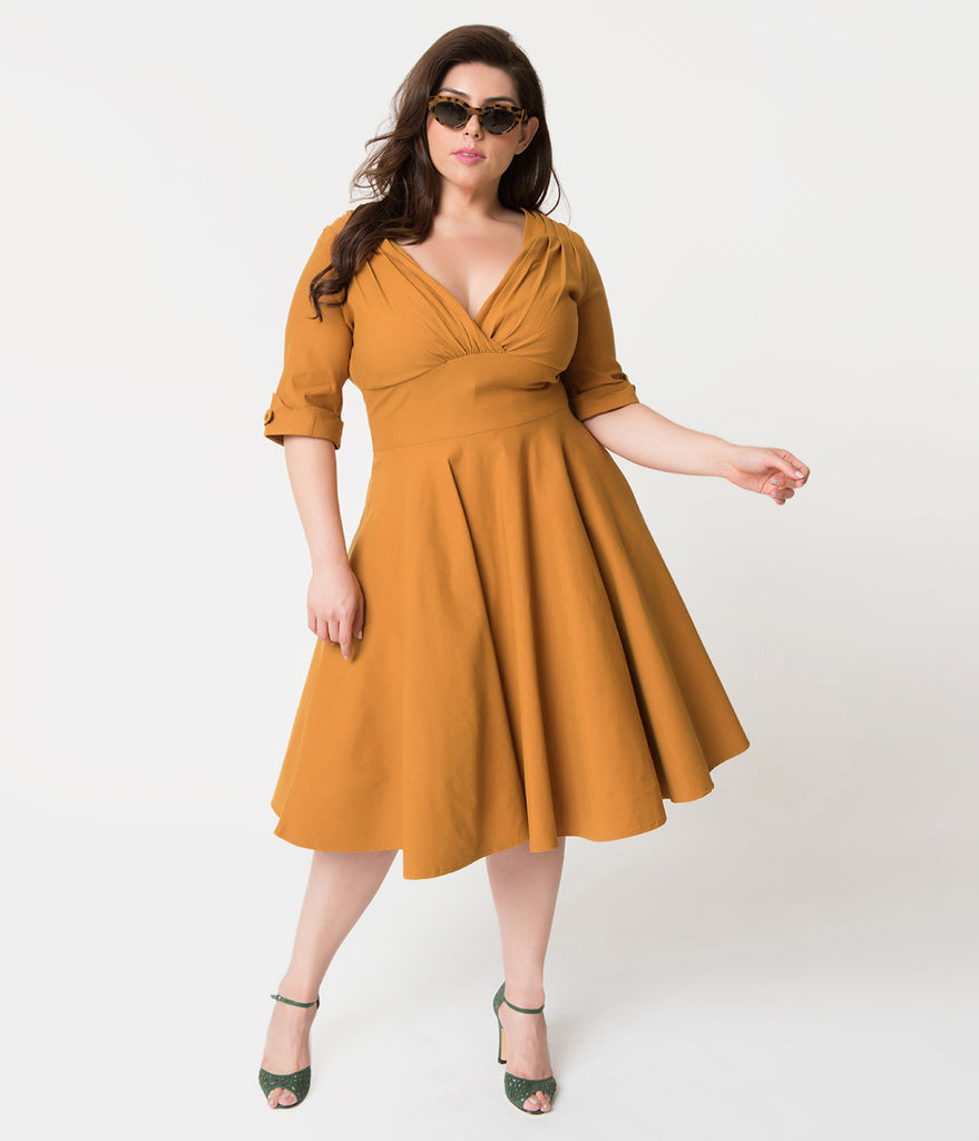 Unique Vintage Plus Size 1950s Mustard Yellow Delores Swing Dress with