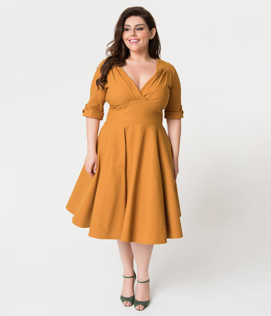 Unique Vintage Plus Size 1950s Mustard Yellow Delores Swing Dress with Sleeves