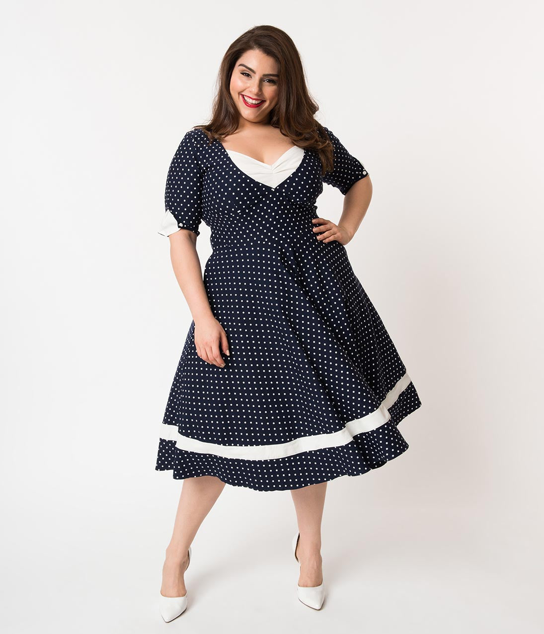 1950s Swing Dresses | 50s Swing Dress Unique Vintage Plus Size 1950S Style Navy  White Dotted Sleeved Serena Swing Dress $74.00 AT vintagedancer.com