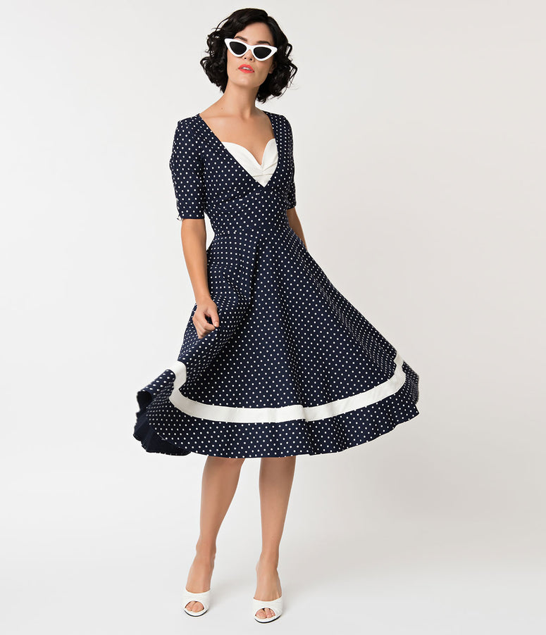 Unique Vintage 1950s Style Navy & White Dotted Sleeved Serena Swing Dress