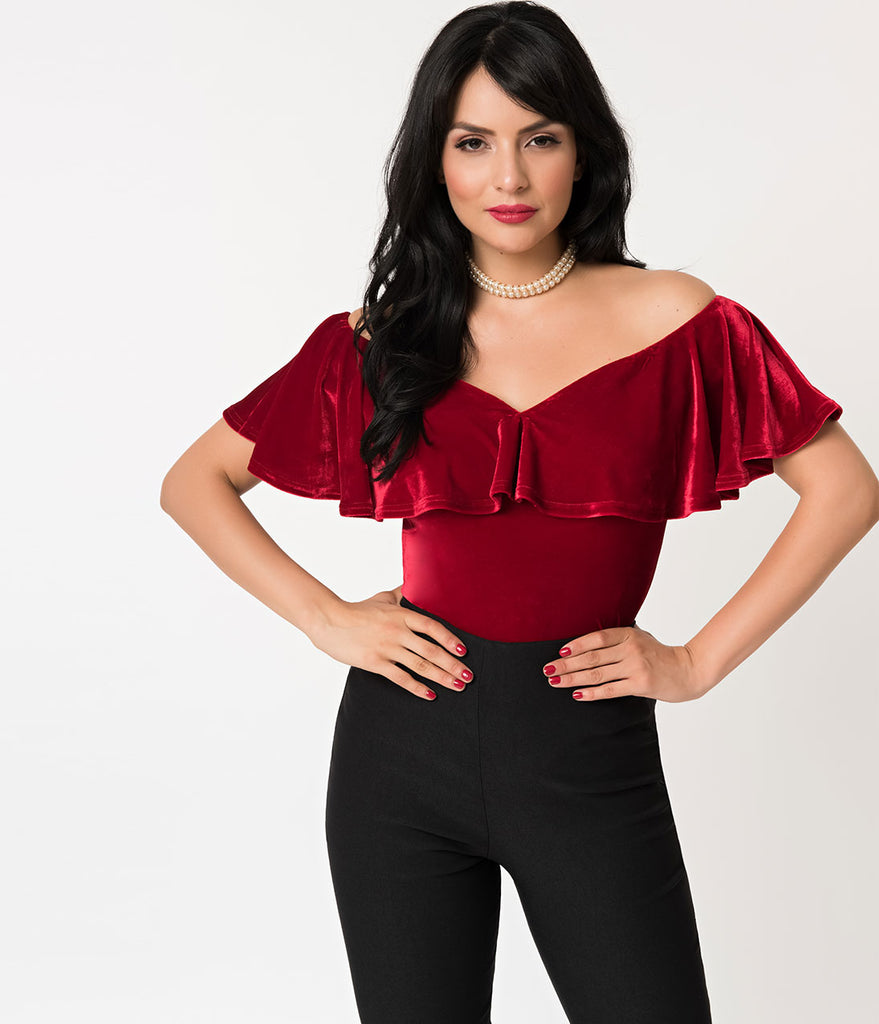 Unique Vintage 1950s Burgundy Velvet Off Shoulder Ruffle Frenchie Knit Top
