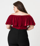 Unique Vintage Plus Size 1950s Burgundy Velvet Off Shoulder Ruffle Frenchie Knit Top