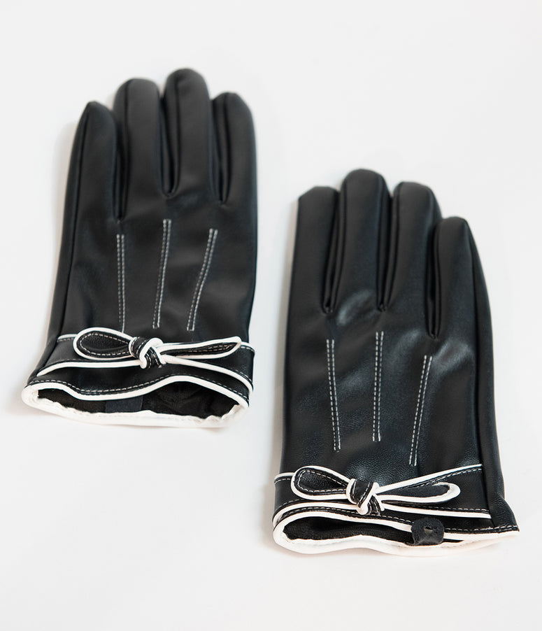 Unique Vintage Black Leatherette Bow Short Gloves