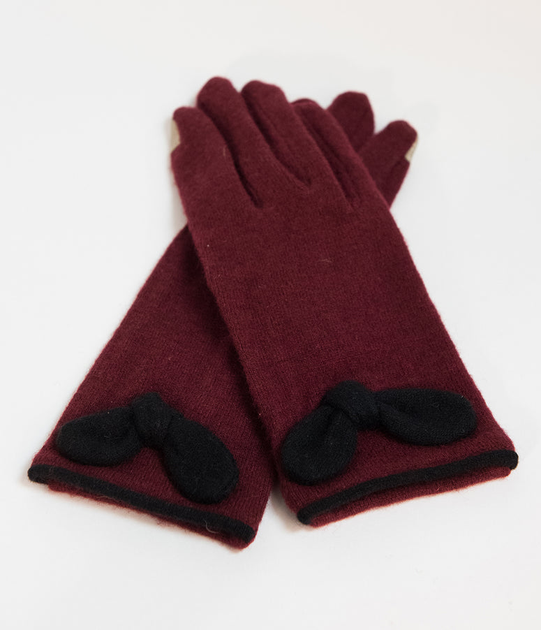 Unique Vintage Red Wool Bow Wrist Gloves