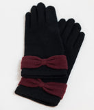 Unique Vintage Black Wool & Burgundy Red Bow Wrist Gloves