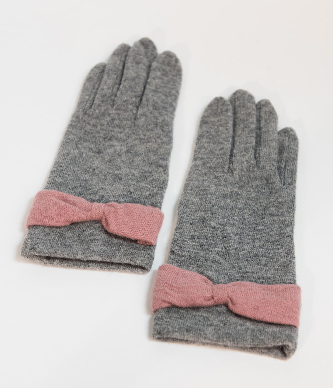 Vintage Style Gloves- Long, Wrist, Evening, Day, Leather, Lace Unique Vintage Grey Wool  Pink Bow Wrist Gloves $20.00 AT vintagedancer.com