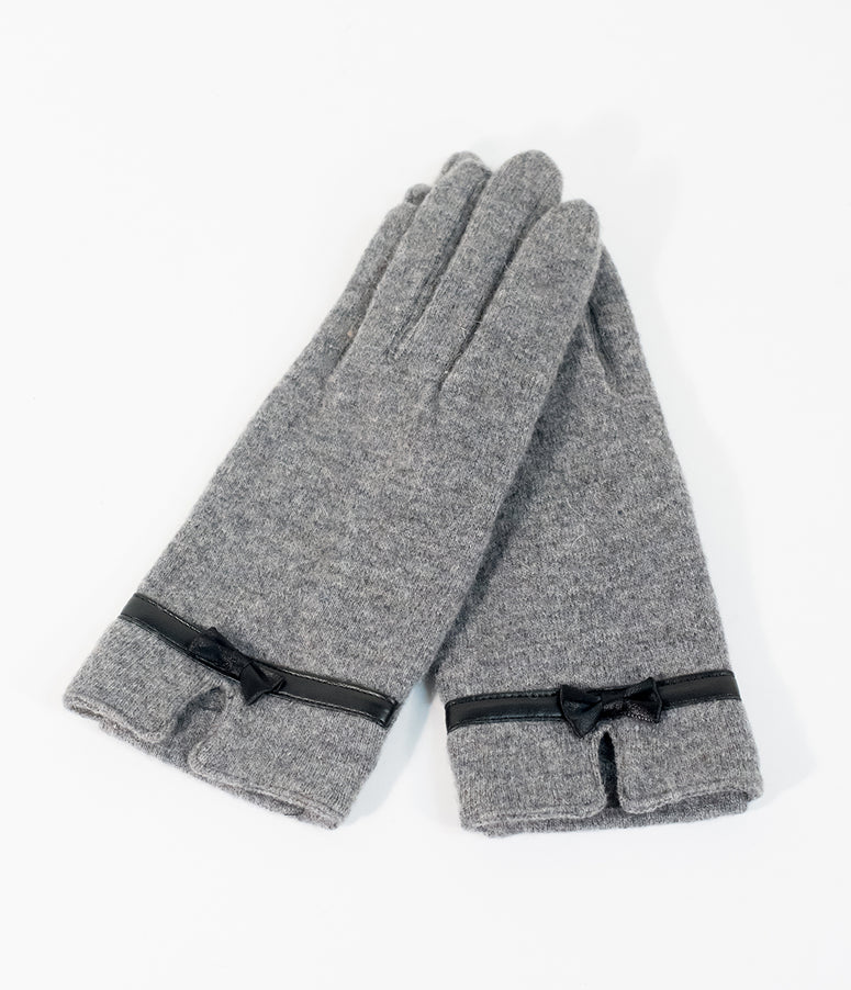 Unique Vintage Grey Knit & Black Leatherette Bow Wrist Gloves