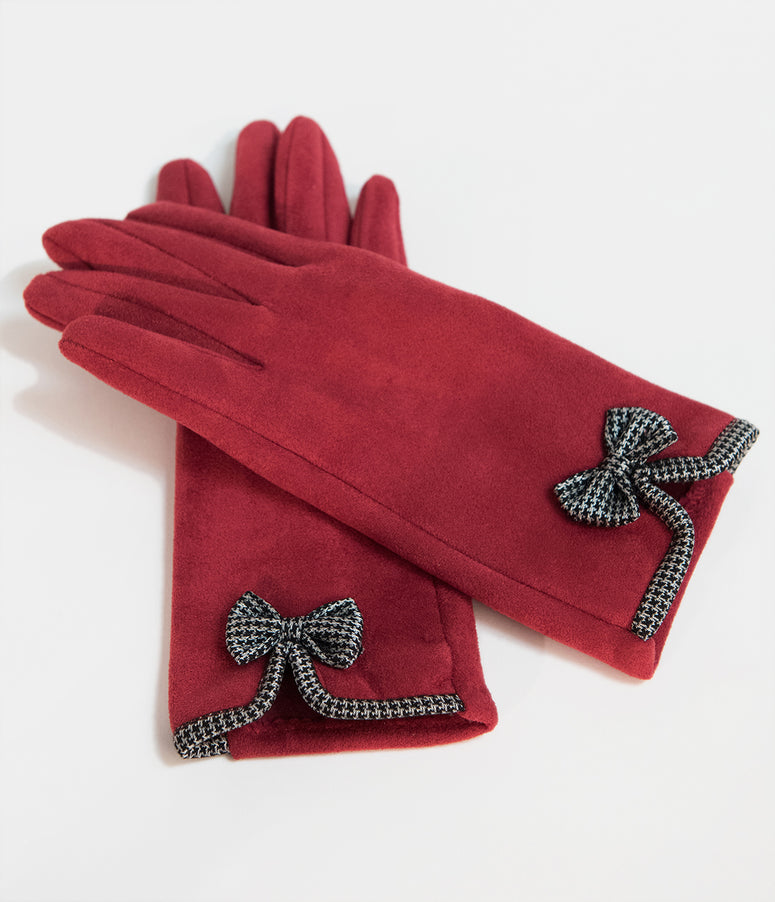 Unique Vintage Red Suede & Houndstooth Bow Wrist Gloves