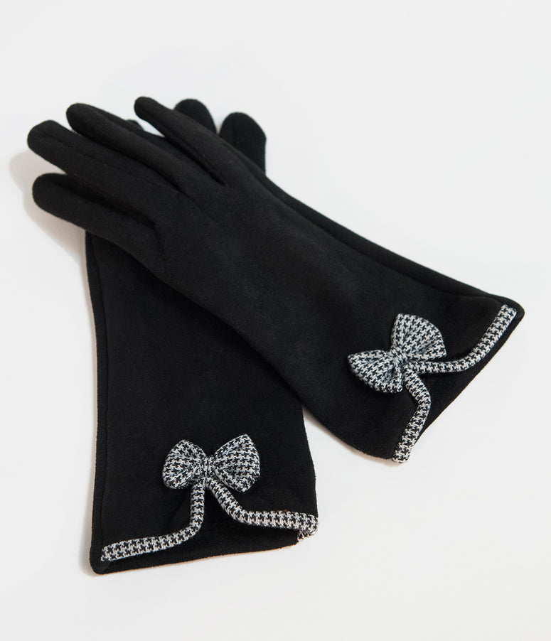 Unique Vintage Black Suede & Houndstooth Bow Wrist Gloves